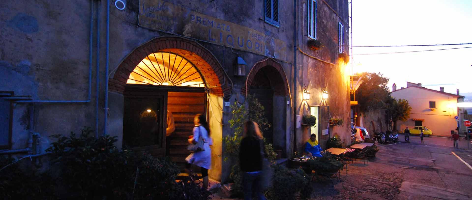 Italian Hill Towns at Night in Castagneto Carducci